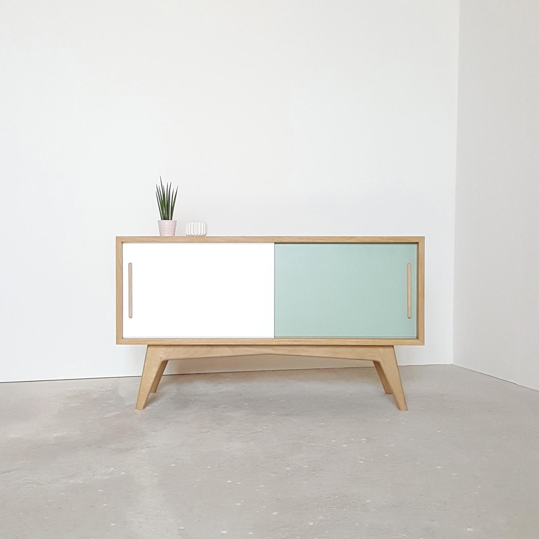 Meuble tv blanc vert oli design - Meuble tv blanc design ...