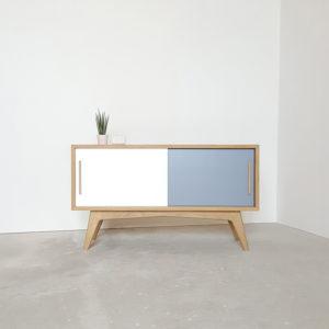 meuble tv blanc gris chene