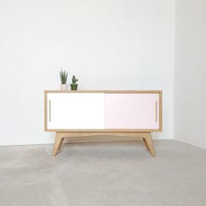 meuble tv blanc rose chene
